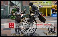 步行街人物騎車雕塑