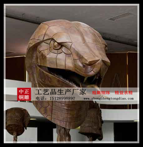 十二生肖蛇兽首铜像