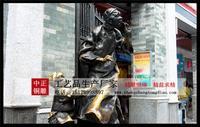 步行街雕塑老人與小孩