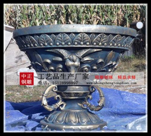 铜花盆雕塑