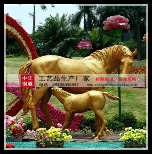 公园銅馬雕塑图片
