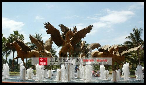 天马喷泉铜雕塑
