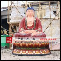彩绘三世佛銅像
