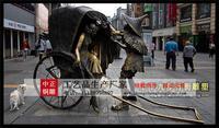 步行街黃包車雕塑